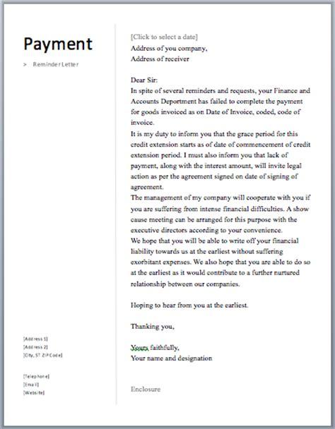 payment reminder letter  sample letters