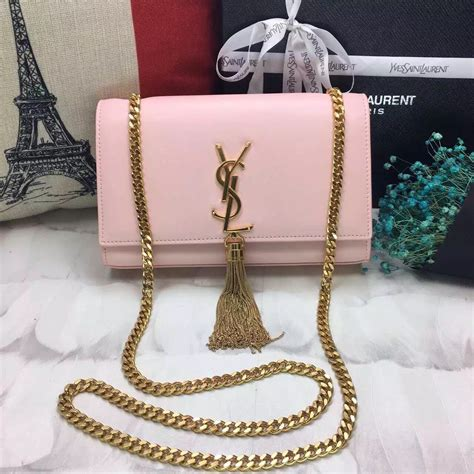 ysl tassel chain bag cm smooth leather light pink gold  replica ysl