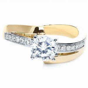 Two tone gold diamond engagement ring 216 for Wedding rings two tone gold