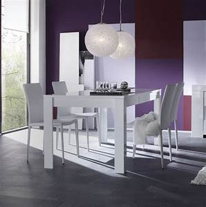Table salle manger carree laquee blanc