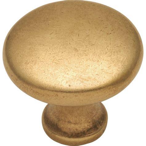 brass kitchen knobs hickory hardware conquest 1 1 8 in lustre brass cabinet