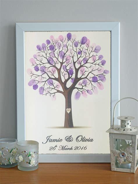 wedding guest book alternative personalised fingerprint framed tree ink pad