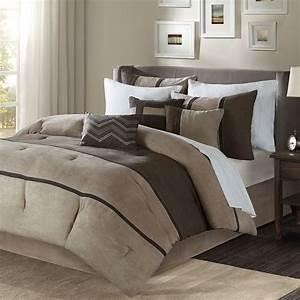 Beautiful, Modern, 7, Pc, Brown, Tan, Taupe, Stripe, Soft, Comforter, Set, King, Or, Queen