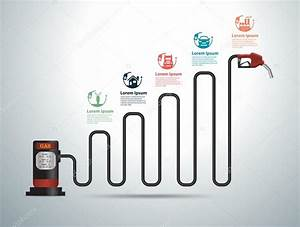 Gasoline Pump Nozzle Gas Station With Business Graph And