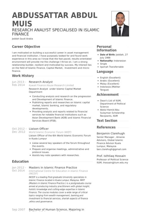 research analyst resume sles visualcv resume sles