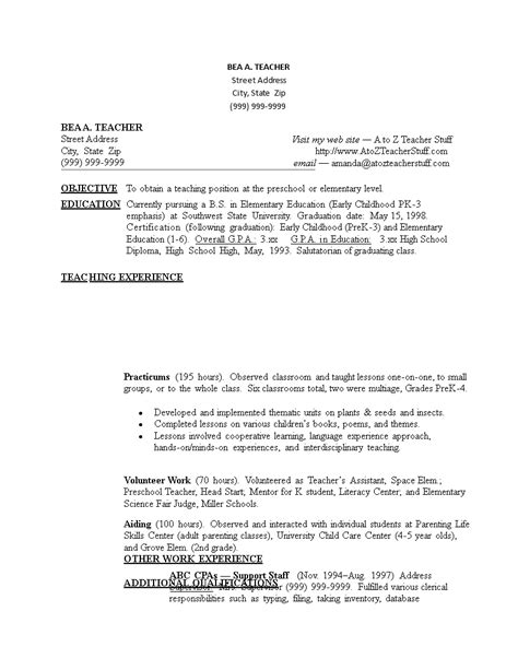 Sample resume without experience creative images. Sample Resume For Teacher Without Experience | Templates ...