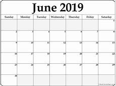 June 2019 Calendar Printable Template Site Provides