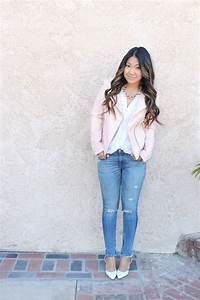 Pics For u0026gt; Light Pink Leather Jacket Outfit