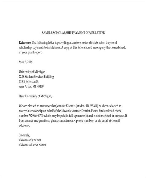 Scholarship Cover Letter Exles by Scholarship Letter Template 11 Free Sle Exle