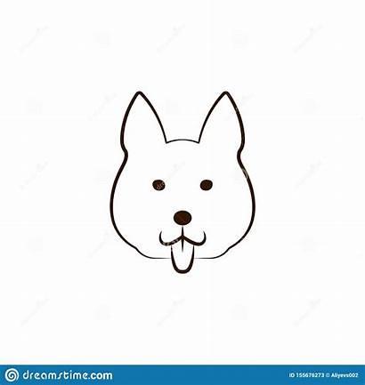 Icon Dog Malamute Alaskan Cat Tail Outline