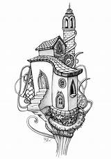 Coloring Pages Tree Architecture Colouring Drawing Adults Adult Drawings Books Sketches Houses Trees Living Fairy Doodle Sheets Treehouse Pencil Awesome sketch template