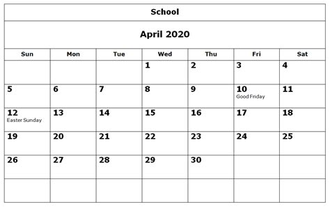 april school calendar calendars academic calendar school
