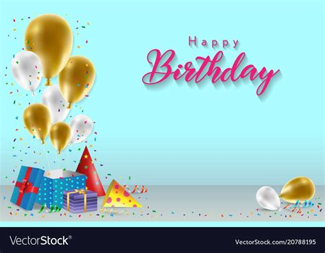 happy birthday background template  balloons gift