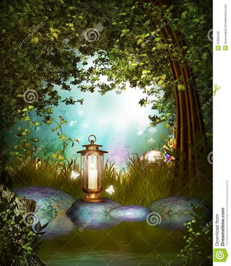 fantasy garden  lamp stock illustration illustration