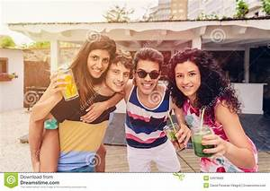 Group Of People Having Fun In Summer Party Stock Photo ...