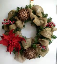 burlap christmas woodlands wreath with pinecones poinsettia and wint