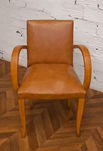 Fauteuil Années 50 : fauteuil bridge ancien vintage ann es 50 50s 1950 simili cuir camel ~ Dallasstarsshop.com Idées de Décoration