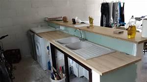 Faire Un Plan De Travail : plan de travail fixer sur muret pour cuisine americaine ~ Dailycaller-alerts.com Idées de Décoration