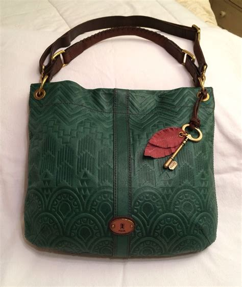 fossil desi embossed tooled textured green leather hobo