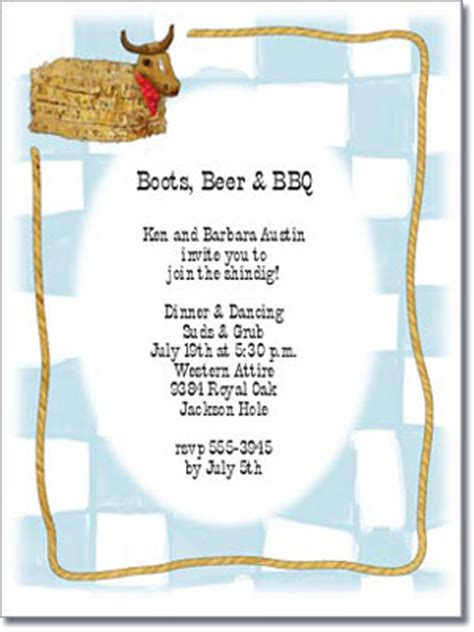 hay bale western party invitation bbq invitation