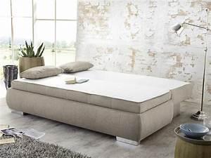 Boxspring Couch Mit Bettfunktion : dauerschl fer schlafsofa merlin 210x112cm beige sofa ~ Indierocktalk.com Haus und Dekorationen