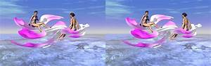 Caribbean pink flowers - 3D stereo JPS image