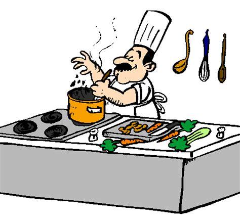 cuisine en collectivité dessin de cuisinier dans la cuisine colorie par membre non