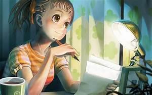 Girl writing a letter Anime Letter Memory wallpaper ...