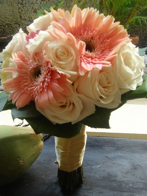 bridal bouquet gerbera daisies and roses bouquet bridal pink gerbera and rose wedding bouquet