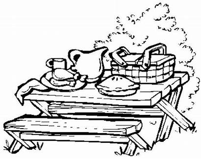 Picnic Table Coloring Pages Clipart Drawing Lag