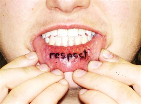 Collin Kasyan's Tattoo Portfolio Tattoo; Respect, Inside Lip