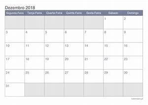 Calendário dezembro 2018 para imprimir iCalendário pt