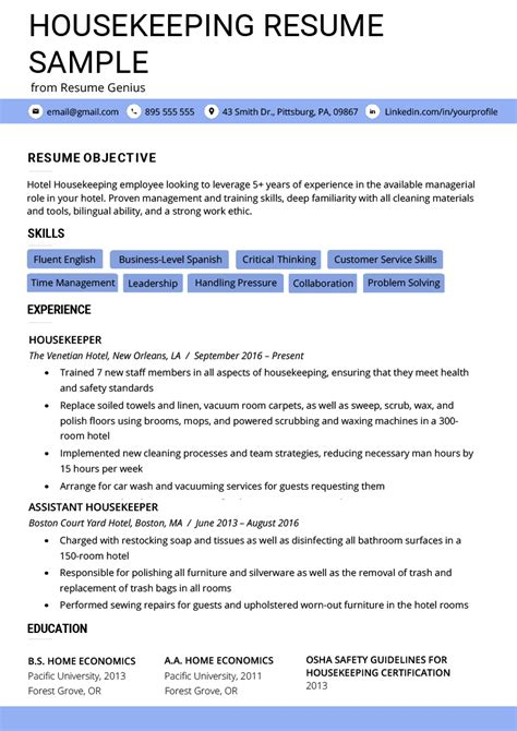 Housekeeping Resume Template by Housekeeping Resume Exle Writing Tips Resume Genius