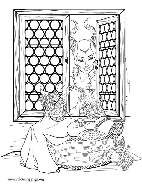 maleficent maleficent baby aurora   flower pixies coloring page