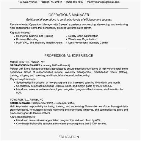 Business Style Resume by Management Resume Exles And Writing Tips