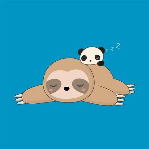 kawaii lazy sloth  panda  shirt teepublic sloth art