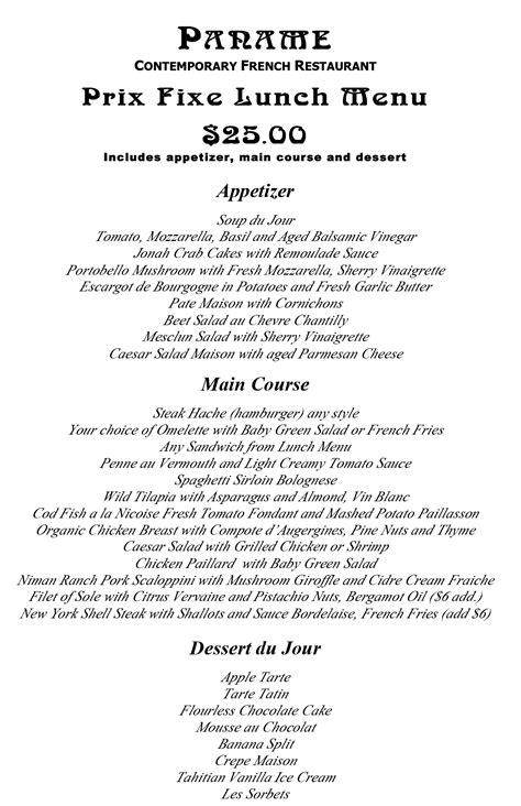 best of cuisine prix fixe lunch menu paname restaurant nyc