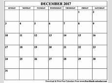 Blank December 2017 Calendar Printable