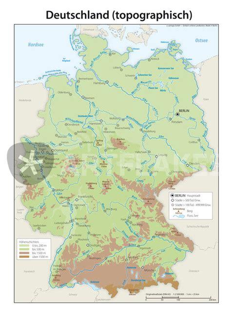 deutschlandkarte topographisch grafikillustration als