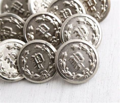 vintage monogrammed p button lot  silver tone  police uniform shank buttons repousse