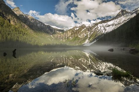 avalanche lake glacier national park montana usa hd wallpaper background image