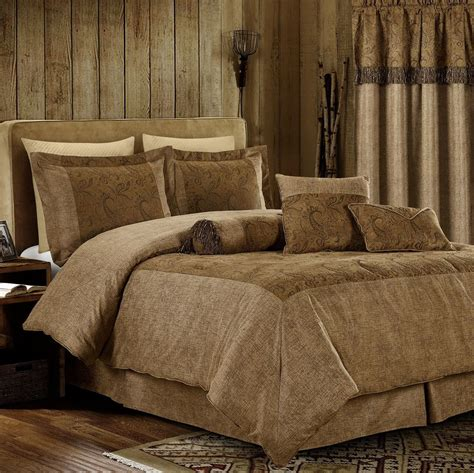 7pcs oversized microsuede brown paisley embossed comforter