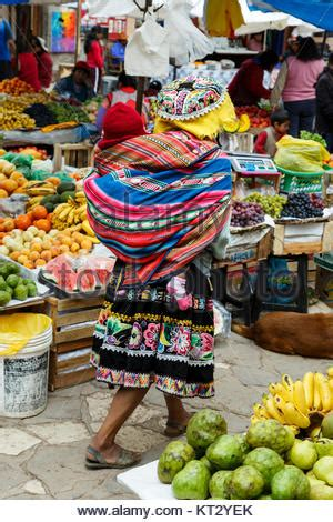 Quechua woman on traditional indigenous Sunday market in