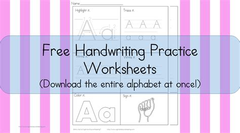 printable handwriting worksheets  kids  karles
