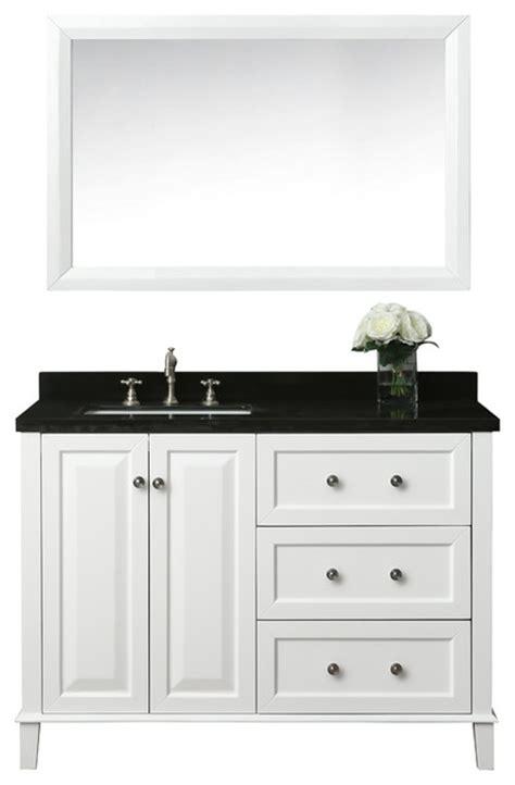 left side sink vanity hannah 48 quot off centered left basin vanity set with mirror
