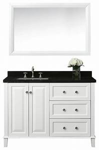 hannah 48quot off centered left basin vanity set with mirror With 48 inch bathroom vanity offset sink