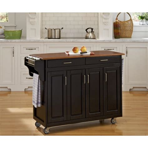 homestyles kitchen island home styles create a cart black kitchen cart with towel 1689