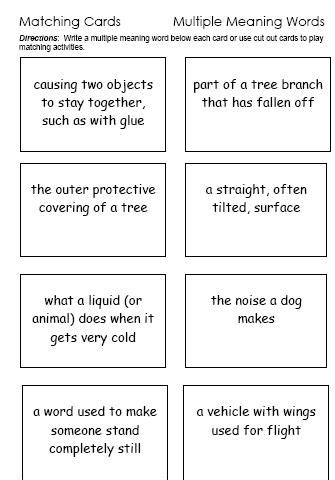 multiple meaning words activities worksheets word lists and more free language stuff