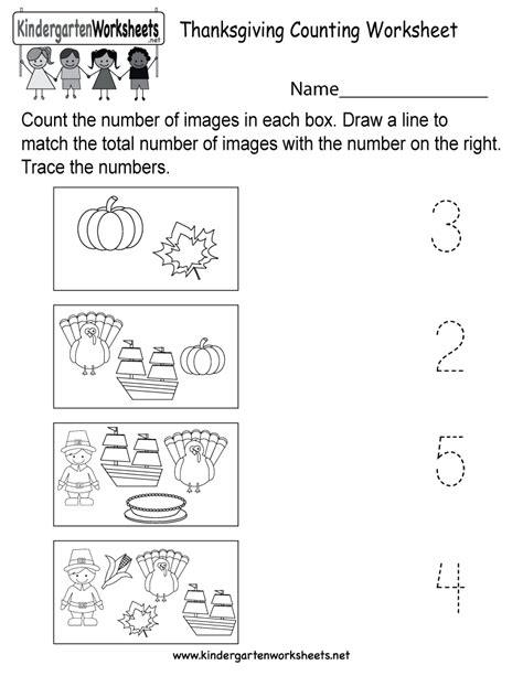 thanksgiving counting worksheet  kindergarten