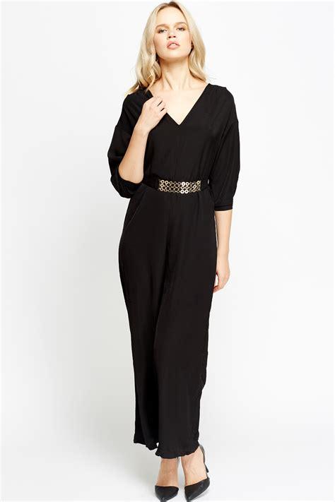 and black jumpsuit black belted jumpsuit fashion ql